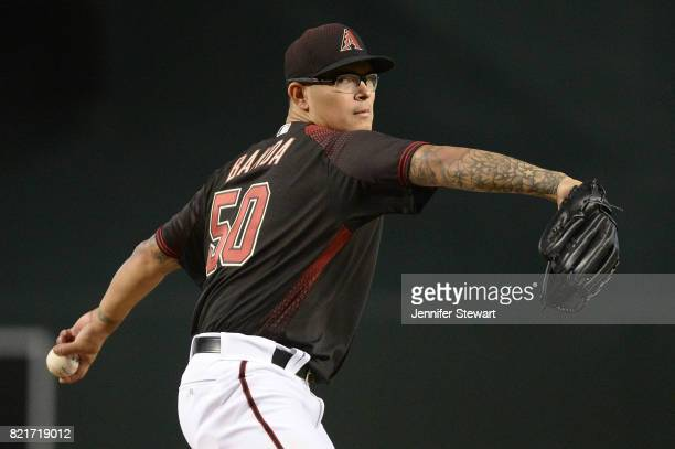 Anthony Banda of the Arizona Diamondbacks throws a warm up pitch in his MLB debut against the Washington Nationals at Chase Field on July 22 2017 in...