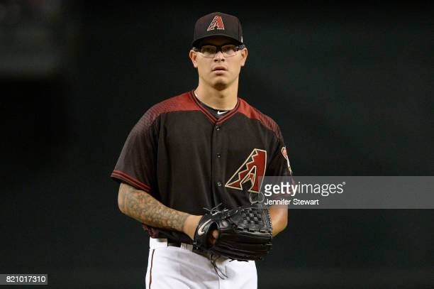 Anthony Banda of the Arizona Diamondbacks warms up for the MLB game against the Washington Nationals at Chase Field on July 22 2017 in Phoenix Arizona