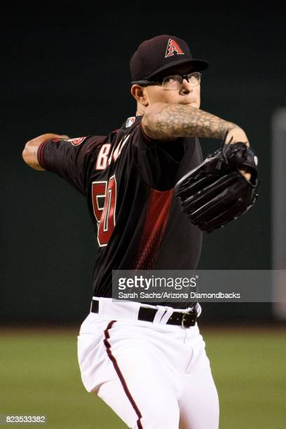 Anthony Banda of the Arizona Diamondbacks warms up on the mound prior to a game against the Washington Nationals at Chase Field on July 22 2017 in...