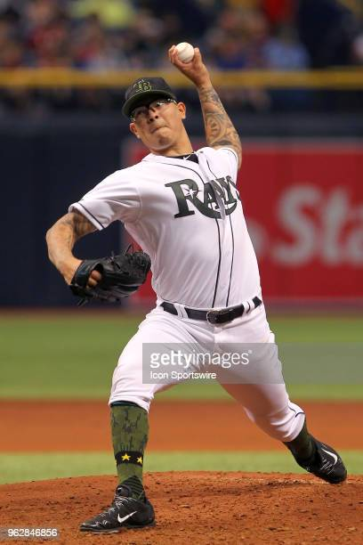 Anthony Banda of the Rays delivers a pitch to the plate during the MLB regular season game between the Baltimore Orioles and the Tampa Bay Rays on...