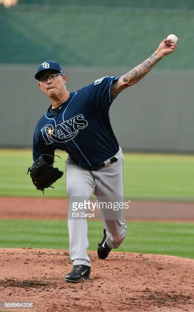 Anthony Banda of the Tampa Bay Rays pitches as he warms up in the first inning against the Kansas City Royals at Kauffman Stadium on May 15 2018 in...