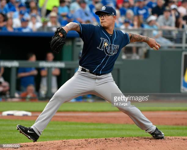 Anthony Banda of the Tampa Bay Rays pitches in the first inning against the Kansas City Royals at Kauffman Stadium on May 15 2018 in Kansas City...