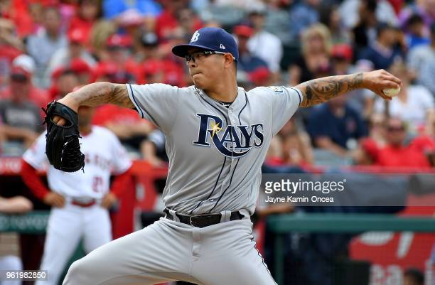 Anthony Banda of the Tampa Bay Rays pitches in the game against the Los Angeles Angels of Anaheim at Angel Stadium on May 20 2018 in Anaheim...