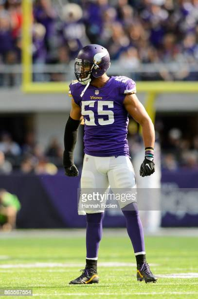 Anthony Barr of the Minnesota Vikings celebrates a tackle against the Baltimore Ravens during the game on October 22 2017 at US Bank Stadium in...