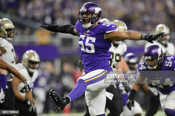 Anthony Barr of the Minnesota Vikings celebrates a tackle against the New Orleans Saints during the first half of the NFC Divisional Playoff game on...