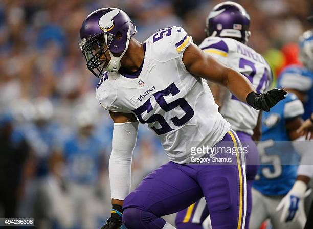 Anthony Barr of the Minnesota Vikings celebrates a third quarter sack while playing the Detroit Lions at Ford Field on October 25 2015 in Detroit...