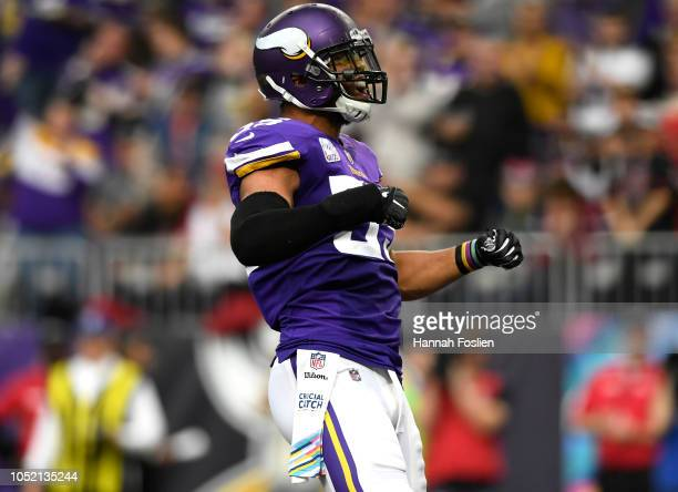 Anthony Barr of the Minnesota Vikings celebrates after tackling David Johnson of the Arizona Cardinals in the third quarter of the game at U.S. Bank...