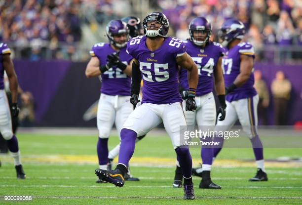 Anthony Barr of the Minnesota Vikings celebrates after tackling Michael Burton of the Chicago Bears for no gain on third down in the first quarter of...