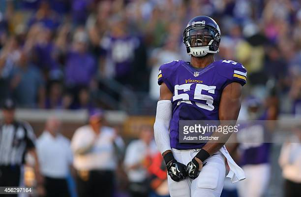 Anthony Barr of the Minnesota Vikings celebrates his sack of Matt Ryan of the Atlanta Falcons at TCF Bank Stadium on September 28, 2014 in...