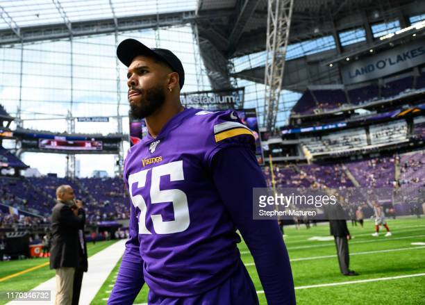Anthony Barr of the Minnesota Vikings exits the field after the preseason game against the Arizona Cardinals at U.S. Bank Stadium on August 24, 2019...