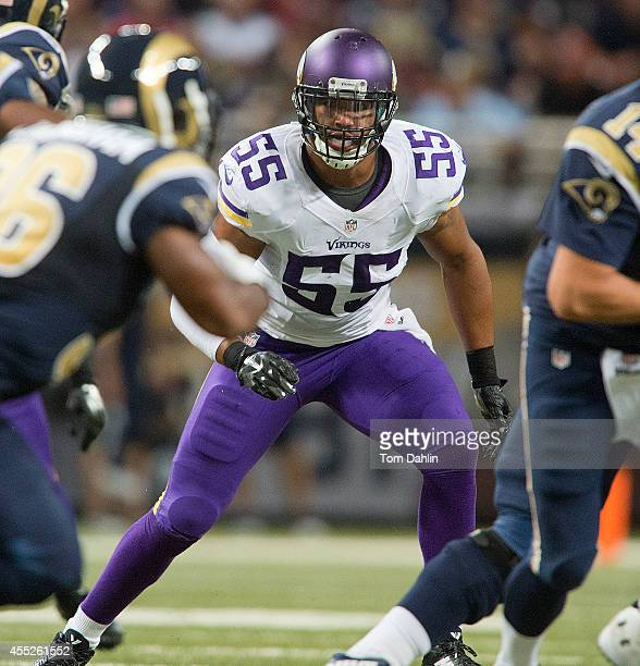 Anthony Barr of the Minnesota Vikings follows the run during an NFL game against the St Louis Rams at Edward Jones Dome on September 7 2014 in St...