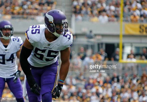 Anthony Barr of the Minnesota Vikings in action against the Pittsburgh Steelers on September 17 2017 at Heinz Field in Pittsburgh Pennsylvania