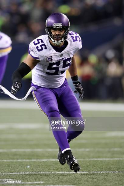 Anthony Barr of the Minnesota Vikings in action during the game against the Seattle Seahawks at CenturyLink Field on December 10, 2018 in Seattle,...