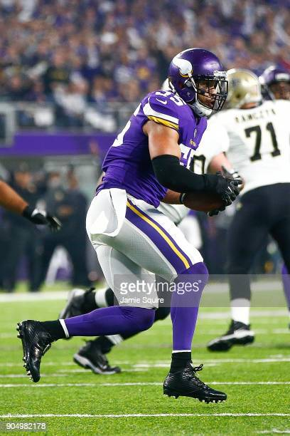 Anthony Barr of the Minnesota Vikings intercepts a pass against the New Orleans Saints during the first half of the NFC Divisional Playoff game at US...