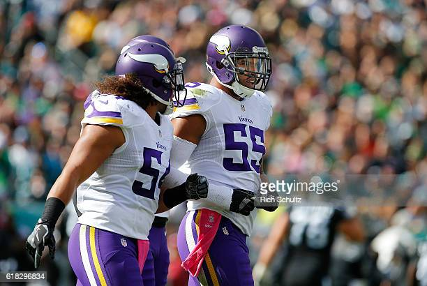 Anthony Barr of the Minnesota Vikings is congratulated by teammate Eric Kendricks after he recovered a fumble by Darren Sproles of the Philadelphia...