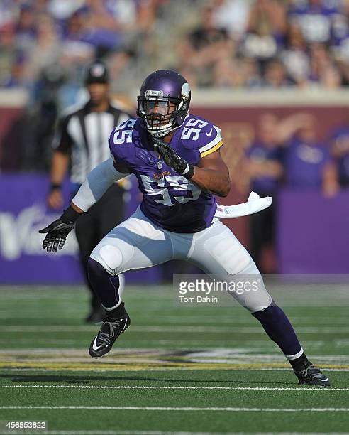 Anthony Barr of the Minnesota Vikings lines up during an NFL game against the Atlanta Falcons at TCF Bank Stadium on September 28 2014 in Minneapolis...