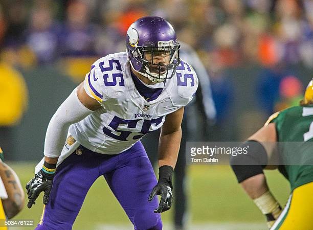 Anthony Barr of the Minnesota Vikings lines up during an NFL game against the Green Bay Packers at Lambeau Field January 3 2016 in Green Bay Wisconsin