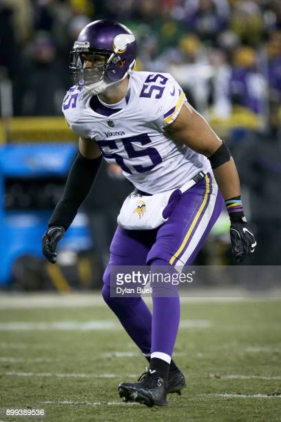 Anthony Barr of the Minnesota Vikings lines up for a play in the fourth quarter against the Green Bay Packers at Lambeau Field on December 23 2017 in...