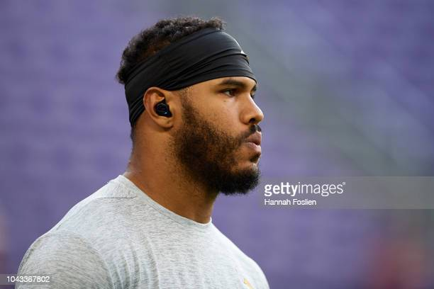 Anthony Barr of the Minnesota Vikings looks on before the game against the Buffalo Bills at US Bank Stadium on September 23 2018 in Minneapolis...