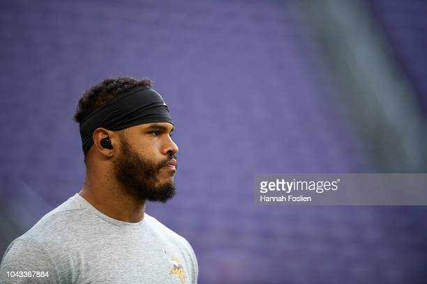 Anthony Barr of the Minnesota Vikings looks on before the game against the Buffalo Bills at U.S. Bank Stadium on September 23, 2018 in Minneapolis,...