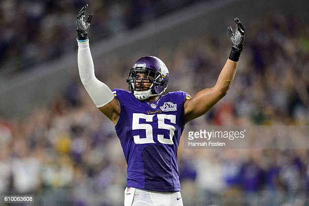 Anthony Barr of the Minnesota Vikings pumps up the crowd before a play against the Green Bay Packers during the game on September 18 2016 at US Bank...