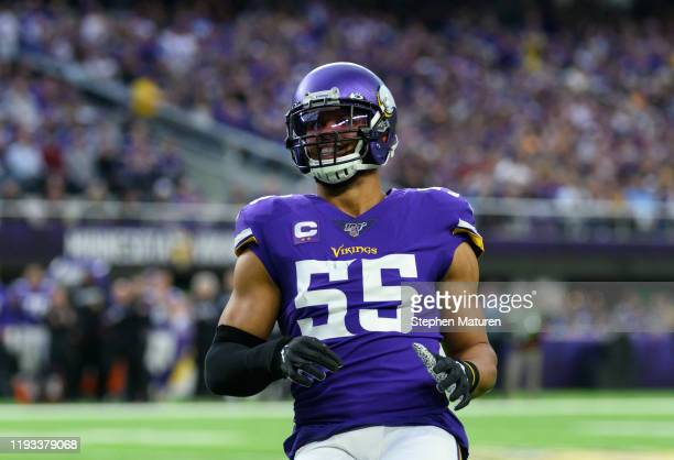 Anthony Barr of the Minnesota Vikings reacts after a play in the first quarter of the game against the Detroit Lions at U.S. Bank Stadium on December...