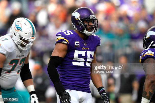 Anthony Barr of the Minnesota Vikings reacts after sacking Ryan Tannehill of the Miami Dolphins in the third quarter of the game at U.S. Bank Stadium...