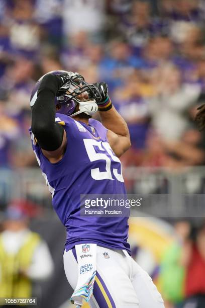Anthony Barr of the Minnesota Vikings reacts during the game against the Arizona Cardinals at U.S. Bank Stadium on October 14, 2018 in Minneapolis,...