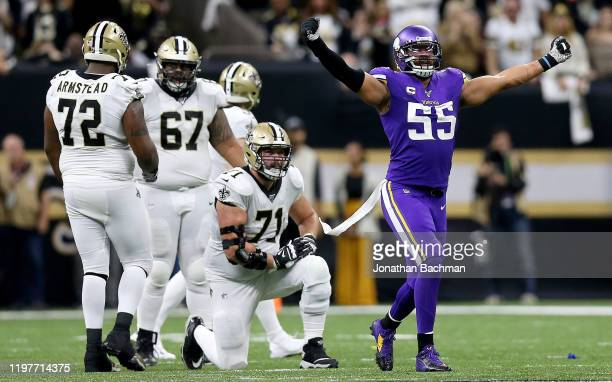 Anthony Barr of the Minnesota Vikings reacts to a play in the NFC Wild Card Playoff game against the New Orleans Saints at Mercedes Benz Superdome on...