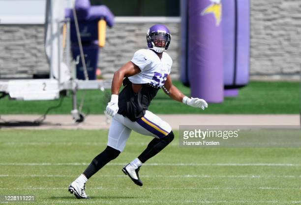 Anthony Barr of the Minnesota Vikings runs a drill during training camp on August 19, 2020 at TCO Performance Center in Eagan, Minnesota.