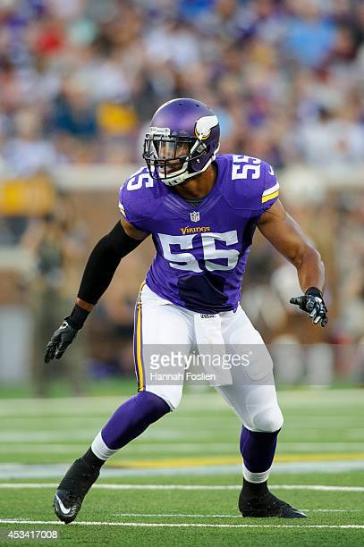 Anthony Barr of the Minnesota Vikings runs a route against the Oakland Raiders during the game on August 8 2014 at TCF Bank Stadium in Minneapolis...
