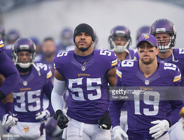 Anthony Barr of the Minnesota Vikings runs onto the field prior to an NFL game against the Green Bay Packers at TCF Bank Stadium November 8 2015 in...