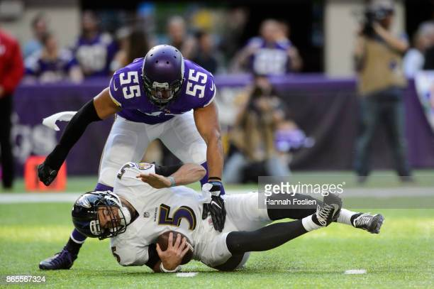 Anthony Barr of the Minnesota Vikings sacks Joe Flacco of the Baltimore Ravens during the game on October 22 2017 at US Bank Stadium in Minneapolis...