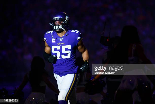 Anthony Barr of the Minnesota Vikings takes the field during player introductions before the game against the Green Bay Packers at U.S. Bank Stadium...