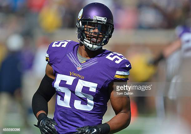 Anthony Barr of the Minnesota Vikings warms up prior to an NFL game against the New England Patriots at TCF Bank Stadium on September 14 2014 in...
