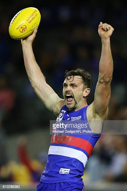 Anthony Barry of Footscray celebrates the win on the final siren during the VFL Grand Final match between the Casey Scorpions and the Footscray...