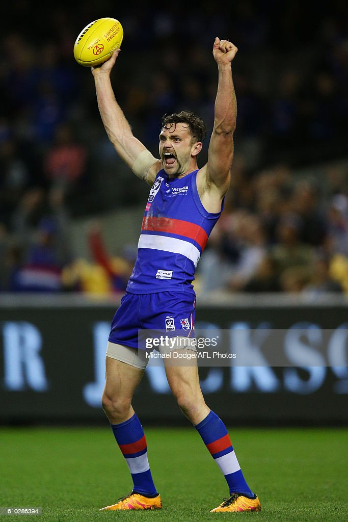 Anthony Barry of Footscray celebrates the win on the final siren during the VFL Grand Final match between the Casey Scorpions and the Footscray Bulldogs at Etihad Stadium on September 25, 2016 in Melbourne, Australia.