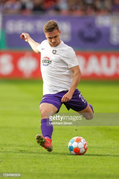 Anthony Barylla of Erzgebirge Aue in action during the DFB Cup first round match between FC Ingolstadt 04 and Erzgebirge Aue at Audi Sportpark on...