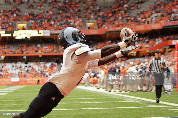 Anthony Baskerville of the Rhode Island Rams catches a TD against the Syracuse Orange during the game on September 10 2011 at the Carrier Dome in...