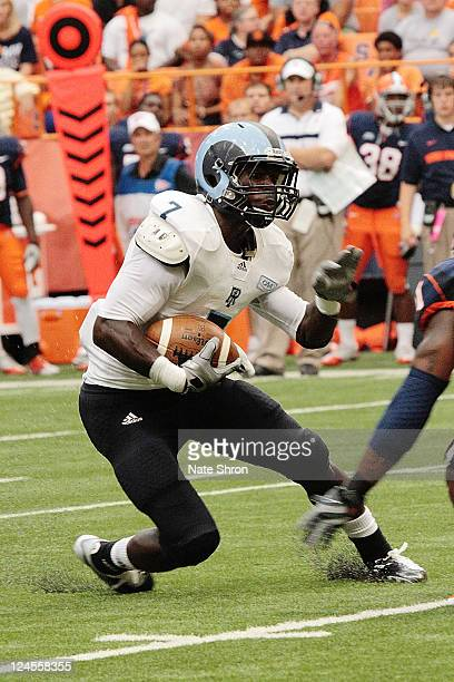 Anthony Baskerville of the Rhode Island Rams runs the ball against the Syracuse Orange rduring the game on September 10 2011 at the Carrier Dome in...