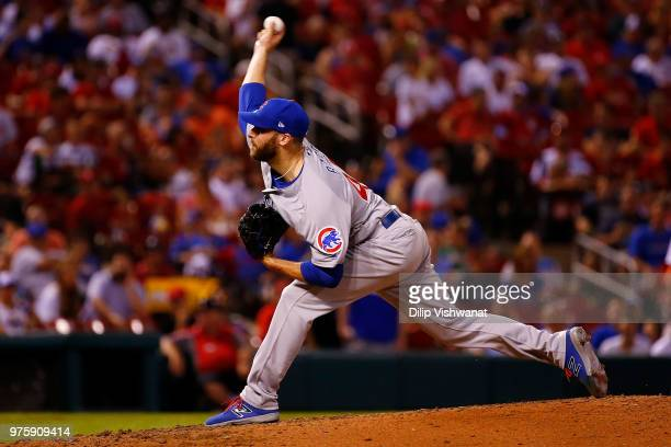 Anthony Bass of the Chicago Cubs delivers a pitch against the St Louis Cardinals in the seventh inning at Busch Stadium on June 15 2018 in St Louis...