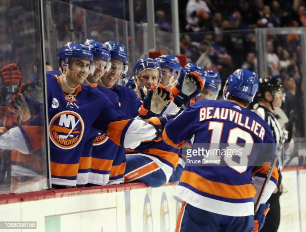 Anthony Beauvillier and the New York Islanders celebrate his hattrick at 518 of the second period on the powerplay against the New York Rangers at...