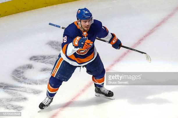 Anthony Beauvillier of the New York Islanders celebrates after scoring a goal against the Tampa Bay Lightning during the second period in Game Three...