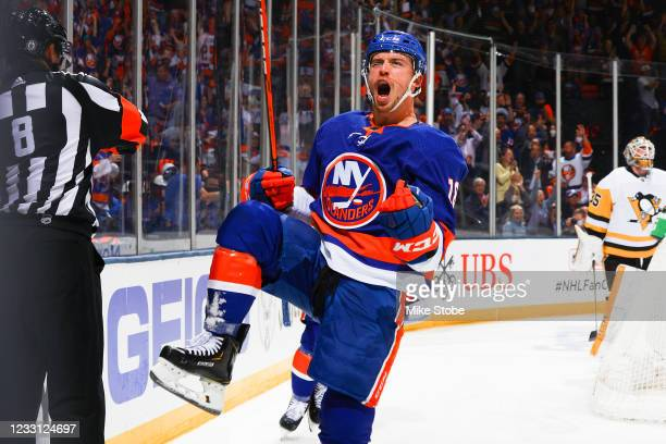 Anthony Beauvillier of the New York Islanders celebrates his first period goal against the Pittsburgh Penguins in Game Six of the First Round of the...