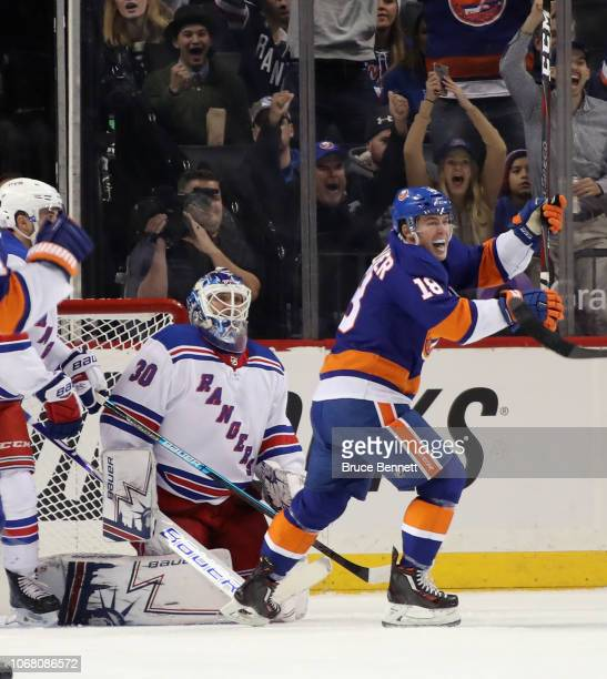 Anthony Beauvillier of the New York Islanders celebrates his goal at 935 of the first period against Henrik Lundqvist of the New York Rangers at the...