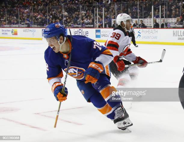 Anthony Beauvillier of the New York Islanders celebrates his goal at 1044 of the second period against the New Jersey Devils at the Barclays Center...