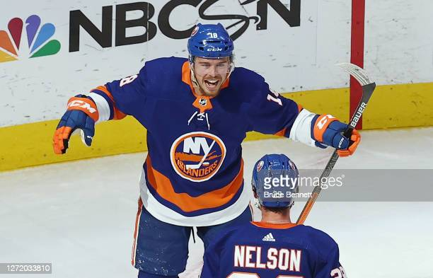 Anthony Beauvillier of the New York Islanders celebrates his goal against the Tampa Bay Lightning in Game Three of the Eastern Conference Final...