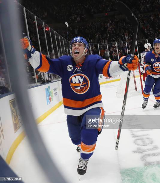Anthony Beauvillier of the New York Islanders celebrates his second period goal against the Columbus Blue Jackets at the Nassau Veterans Memorial...