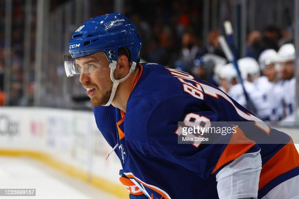 Anthony Beauvillier of the New York Islanders in action against the Tampa Bay Lightning in Game Six of the Stanley Cup Semifinals of the 2021 Stanley...