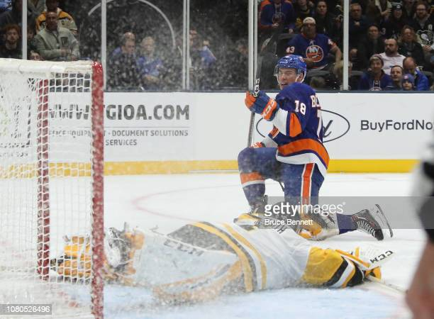 Anthony Beauvillier of the New York Islanders scores a second period goal against Casey DeSmith of the Pittsburgh Penguins at NYCB Live at the Nassau...